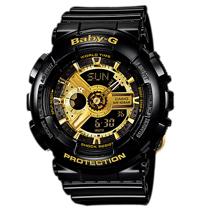 CASIO 卡西歐 BABY-G 時尚黑金配色雙顯運動女錶 BA-110-1ADR