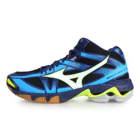 (男) MIZUNO WAVE BOLT 6 MID 排球鞋 - 美津濃 丈青水藍