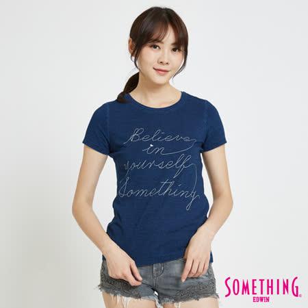 SOMETHING 靛藍繡花園領T恤-女-中古藍