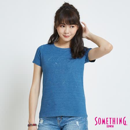 SOMETHING 靛藍繡花園領T恤-女-漂淺藍