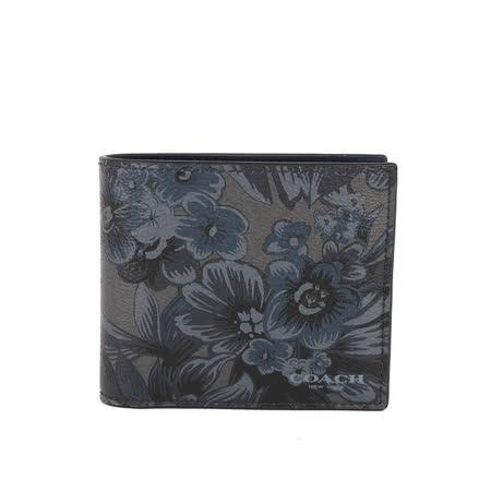 【COACH】皮革花卉短夾(黑/藍/灰藍)