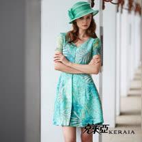 【克萊亞KERAIA】熱帶棕梠葉短袖洋裝