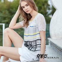 【克萊亞KERAIA】絲質格紋蕾絲拼接上衣