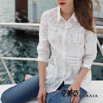 【克萊亞KERAIA】刺繡鏤空口袋長版襯衫
