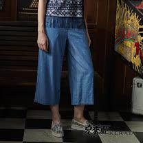 【克萊亞KERAIA】休閒點點牛仔寬褲