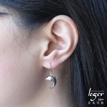 leger日本羽鈦《海豚之戀》鈎式純鈦耳環一只