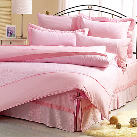 【享夢城堡】HELLO KITTY 優雅緹花系列-精梳棉單人床包兩用被組