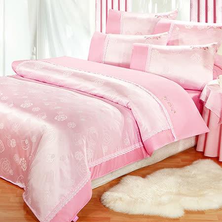 【享夢城堡】HELLO KITTY 玫瑰緹花系列-精梳棉雙人床包薄被套組
