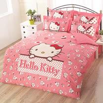【享夢城堡】HELLO KITTY 時尚茶點系列-精梳棉單人床包涼被組(粉.灰)