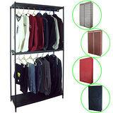 【PEH】三層91寬方型鐵管黑色吊衣櫥(雙桿)供四色布套可選