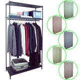 【PEH】三層91寬方型鐵管黑色吊衣櫥(單桿)五色布套可選