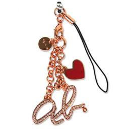 agnes b.ab heart logo 愛心手機吊飾_玫瑰金
