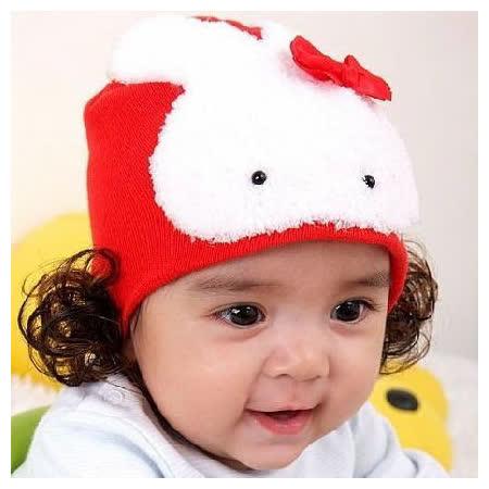 購物車:韓單爆可愛《兔兔假髮帽-紅色》保暖帽@ 40-46cm