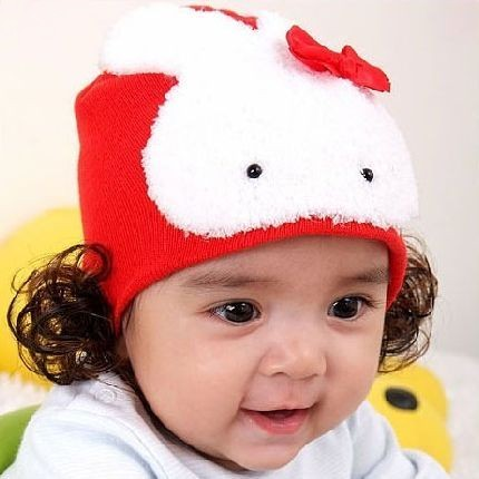 車:韓單爆可愛~兔兔假髮帽~紅色~保暖帽~ 40~46cm