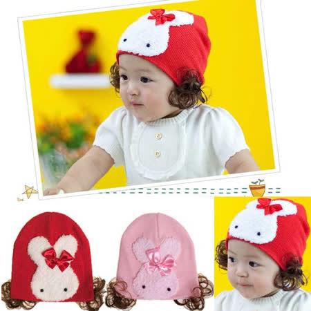 車:爆可愛~兔兔假髮帽~粉色~保暖帽~ 40~46cm