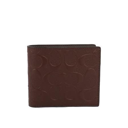 【COACH】皮革立體LOGO壓紋短夾(咖啡色)