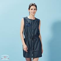 【FANTINO】女裝 微彈性無袖緹花綁帶牛仔洋裝 672301