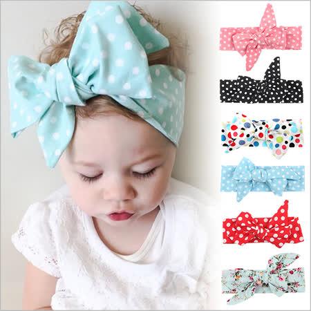JoyNa歐美蝴蝶結兒童髮帶嬰兒髮飾頭飾-三件入