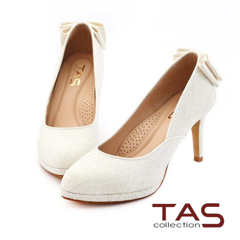 TAS 後跟雙層蝴蝶結蕾絲高跟鞋-優雅白