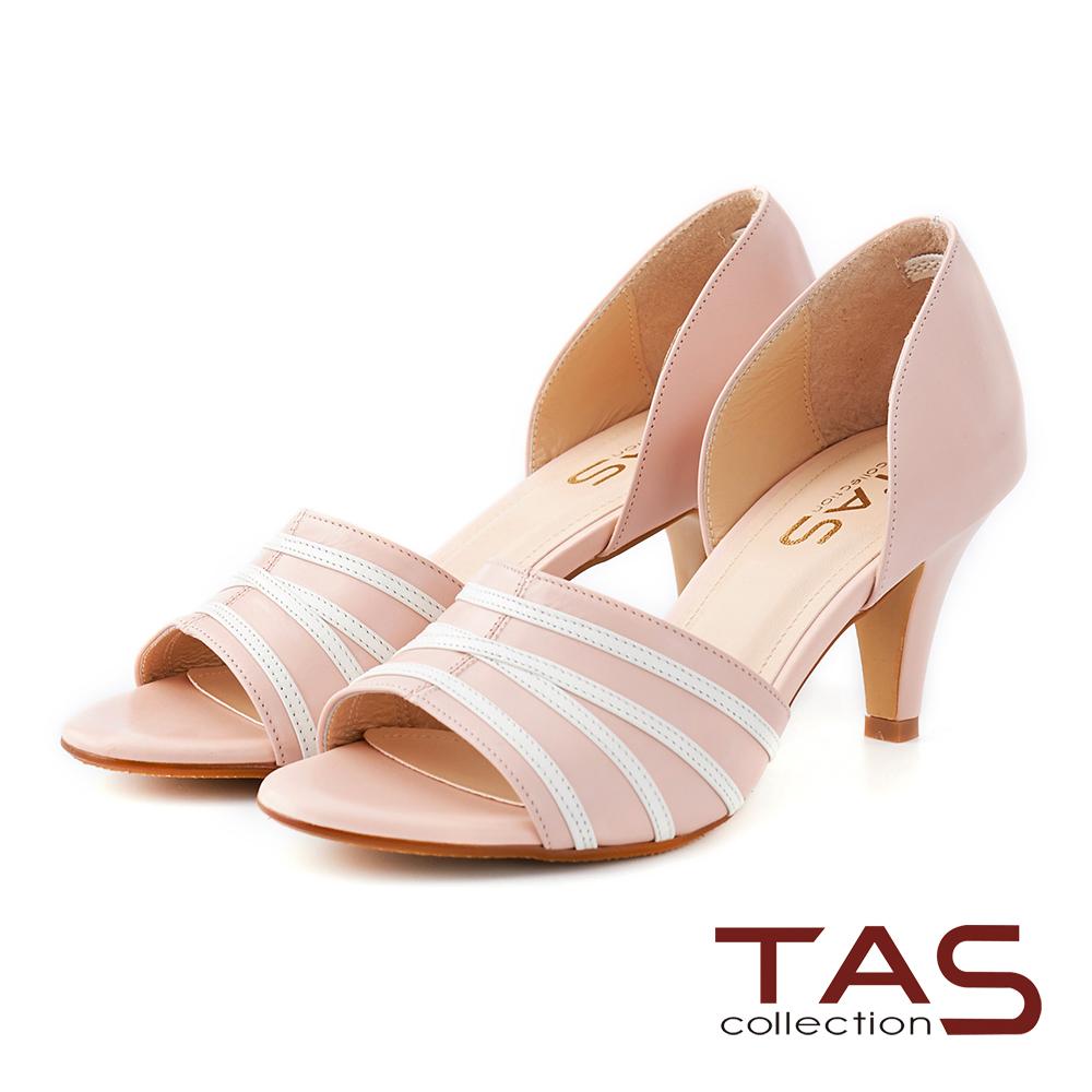 TAS 不規則條紋側鏤空魚口高跟鞋