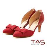 TAS 半月金屬方形蝴蝶結高跟鞋-性感紅
