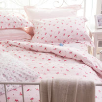 OLIVIA 《曼斯菲爾德 粉》 雙人兩用被套床包四件組 歐式枕套 鄉村公主房