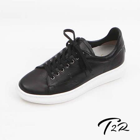 【韓國T2R手工訂製增高鞋】真皮皮革質感傳統綁帶休閒隱形增高鞋-黑-增高5.5公分 現貨+預購 (6600-1048)