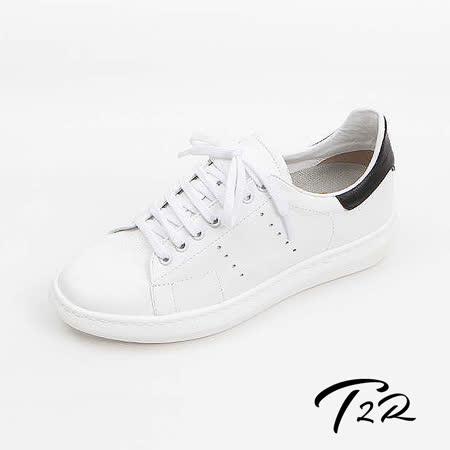 【韓國T2R手工訂製增高鞋】真皮皮革質感傳統綁帶休閒隱形增高鞋-白-增高5.5公分 現貨+預購 (6600-1049)