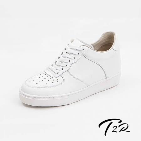 【韓國T2R手工訂製增高鞋】經典款質感真皮運動風休閒隱形增高鞋-白-增高6.5公分 (6600-1040)