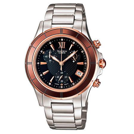CASIO 卡西歐 SHEEN 藍寶石陶瓷錶圈細緻溫柔女錶 SHE-5516SG-5A