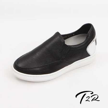 【韓國T2R手工訂製增高鞋】鬆緊洞洞真皮拼接漆皮休閒隱形增高鞋-黑-增高6.5公分 (6600-1054)