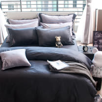 OLIVIA 《 NELSON 》 加大雙人兩用被套床包四件組 設計師原創系列 工業風格
