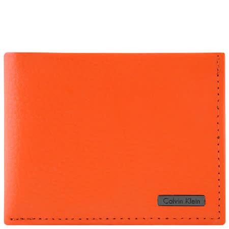 Calvin Klein 皮革壓紋雙摺短夾-橘色