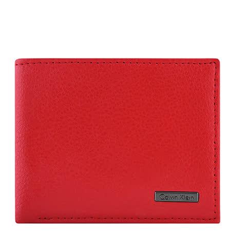Calvin Klein 皮革壓紋雙摺短夾-紅色