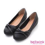 bellwink【b9601bk】皮革側邊朵結厚底包鞋-黑色
