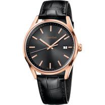 瑞士 Calvin Klein 時尚耀眼玫瑰金皮革紳士錶 (K4M216C3)