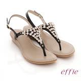【effie】 分子點心 全真皮金屬水鑽楔型涼鞋(黑)