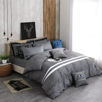 OLIVIA 《 航行者 灰 》 雙人床包被套四件組 設計師工業風格 MIT原創設計寢具