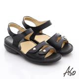 【A.S.O】3E加寬楦 真皮金屬飾扣魔鬼氈涼鞋(黑)