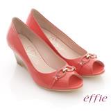 【effie】俐落職場 全真皮亮面c型飾釦露趾楔型鞋(橘紅)