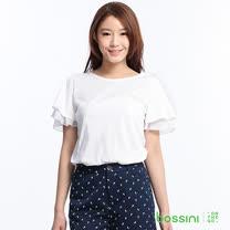 bossini女裝-雪紡短袖上衣08白