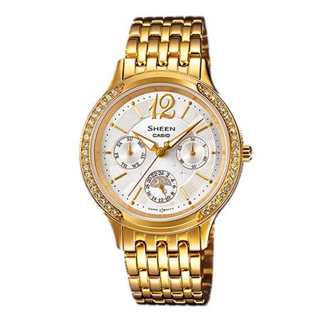 CASIO 卡西歐 SHEEN 氣質優雅不鏽鋼錶帶指針女錶 SHE-3030GD-7A