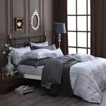 OLIVIA 《 Alexander 銀灰 》 加大雙人床包被套四件組 繡線枕 棉天絲系列