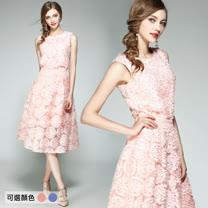 【M2M】立體盤花圓領上衣網紗半身裙套裝(共二色)