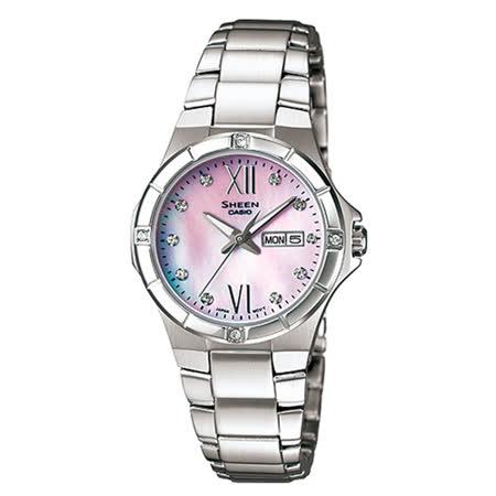 CASIO 卡西歐 SHEEN 粉面不鏽鋼珍珠母貝女錶 SHE-4022D-4ADR
