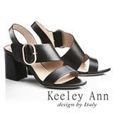 Keeley Ann經典美型~簡約大方寬版金屬飾扣真皮高跟涼鞋(黑色722687110-Ann系列)