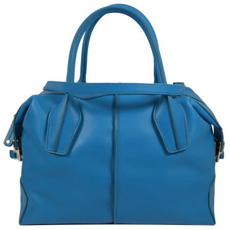 TOD'S   質感皮革D-BAG兩用手提包.藍(附斜背帶)
