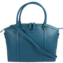 GUCCI 經典雙G LOGO皮革壓紋二用托特購物包.藍綠
