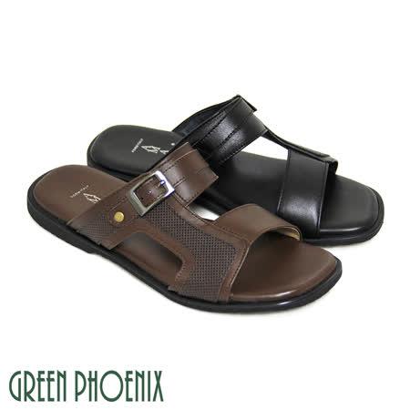 【GREEN PHOENIX】經典金屬裝飾扣密集孔洞全真皮平底男拖鞋(男款)