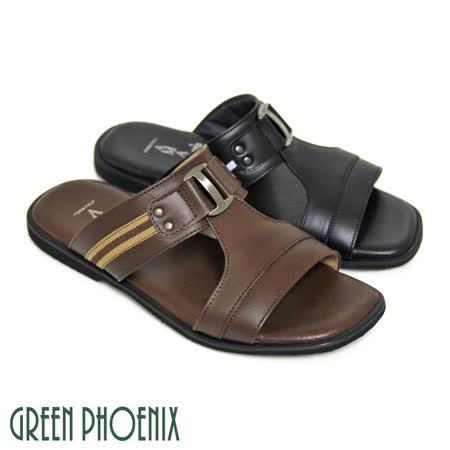 【GREEN PHOENIX】金屬裝飾鏤空一字雙彩布料拼接全真皮平底男拖鞋(男款)